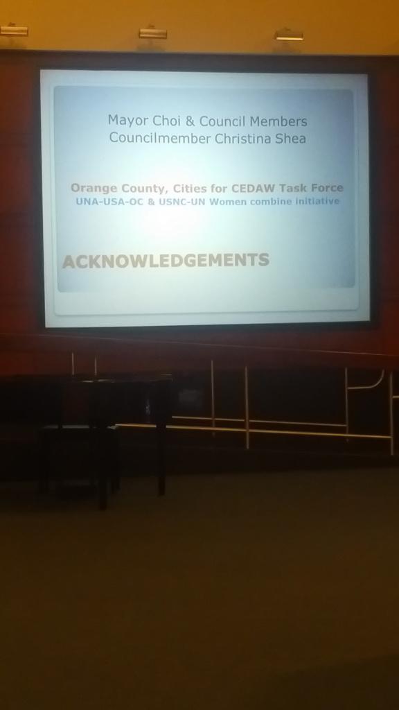 2016 – Presentation Of CEDAW To City Council – Irvine
